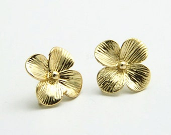 6 pcs of flwer ear post with loop 15mm-4538-18k gold