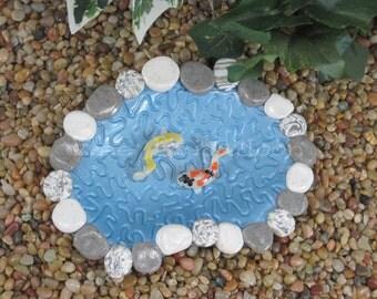 Medium Koi Pond for Fairy Garden OOAK handmade miniature