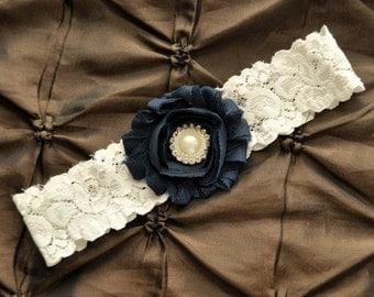 Navy Wedding Garter, Navy Bridal Garter - Ivory Lace Garter, Toss Garter, Blue Garter, Something Blue Wedding Garter Belt, Ivory Garter