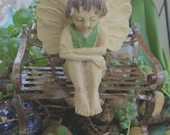 Terrarium FAIRY Angel on Vintage Bench Fairy Garden