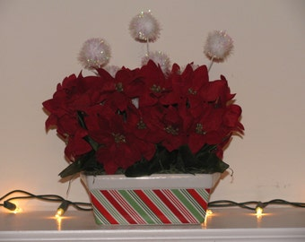 Ceramic Floral Arrangement with Snowballs, Red and Green Christmas Arrangement, Christmas Floral Arrangement