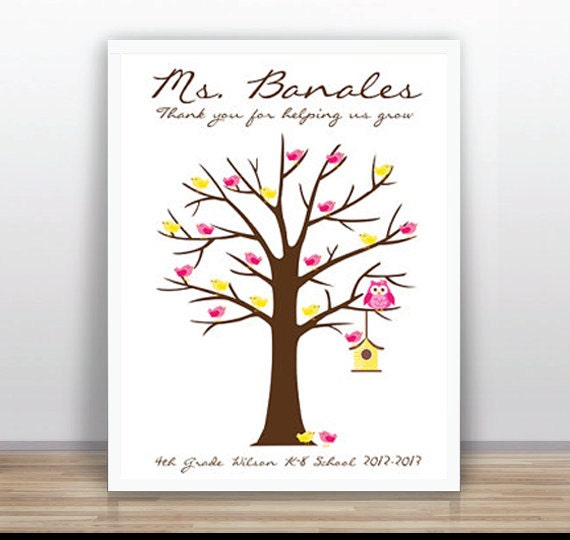 teacher thumbprint tree printable wedding baby shower blue