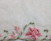 Red, Pink and Olive Green Floral Embroidered Tulle Fabric (by the yard)
