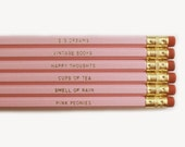 Necessities Pencils. Set of 6. Pink pencils with Gold Foil Text