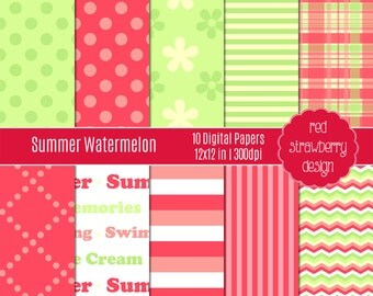 75% OFF Sale - Summer Watermelon - 10 Digital Papers  - Instant Download - JPG 12x12 (DP108)
