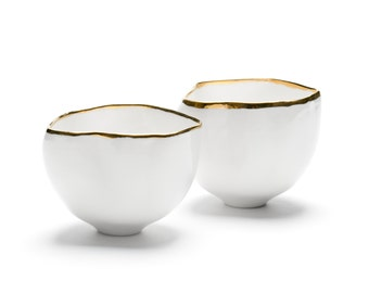 Elegant Set of Ceramic Bowls, Porcelain, White, Gold, Handmade Ceramics and Pottery, Set of Two Bowls