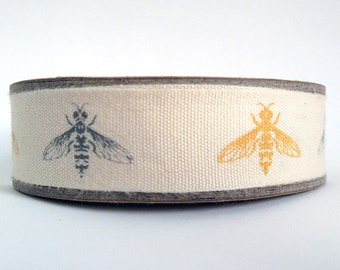 1m Bumble bee print fabric cotton ribbon trim tape - yellow grey - 1 metre