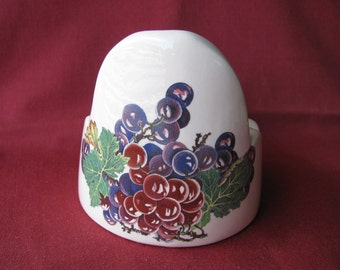Grapes Vinyard Design Ceramic Candle Holder, Pillar, Votive, Tealight, Mini Planter