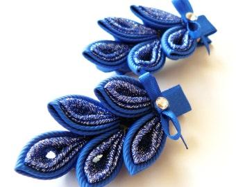 Kanzashi hair clip. Set of 2 hair clips. Blue Kanzashi leaf.
