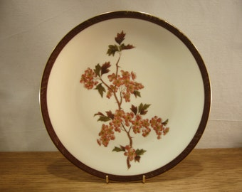 Antique set of six Limoges cherry blossom transfer decorated porcelain plates by Gustav Demartial & Company