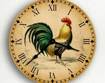 """Rooster Traditional Kitchen Motif 6""""-10""""-12"""" Silent Wall Clock"""