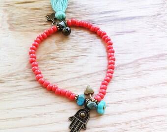 Bohemian Summer - coral and hamsa