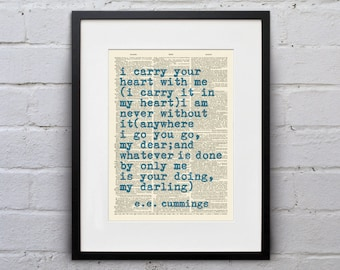 I carry your heart with me (I carry it in my heart) / E.E. Cummings - Inspirational Quote Dictionary Page Book Art Print - DPQU146