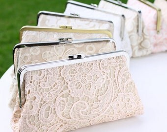 Lace Clutches Bridal Clutches / Personalised Bridesmaid Clutches / Wedding Gift - Set of 5