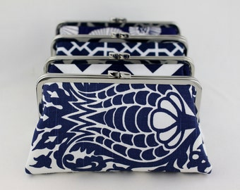 Navy Bridesmaid Clutches / Wedding Clutches / Clutch for Bridesmaid / Wedding Clutch Set - Set of 5