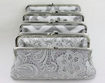 Grey Lace Clutch with Multi Lining Bridesmaid Clutch / Custom Clutches / Monogrammed Wedding Purse / Wedding Clutch - Set of 5