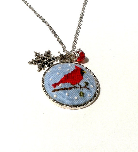 cardinal bird embroidered pendant necklace by conebom