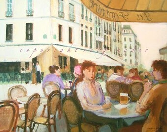 Paris Cafe print 5x7, 8x10 figures, French,  France, city, gold, green, lavender, restaurant, people, outdoor, bistro, couple dining