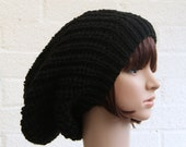Knitted Extra Large Slouchy Beanie Hat in Black, Chunky Knit Oversized hat.