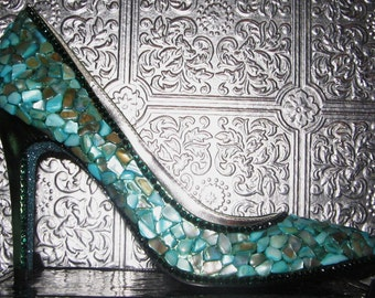 heels with shells, crystal rhinestones and glittered soles