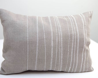 Pillowcase // Hand printed on natural linen fabric //  Cushion  decorative white dots and lines,  handmade pillow cushion cover, home decor