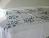 Vintage 1950s Cotton Linen Hand Embroidered Tablecloth 73 x 53 Blue Flowers Wheat Stalks