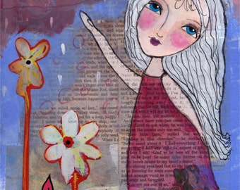 Whimsical Folk Art Girl - Mixed Media Print - She Danced - Whimsical Girl Art