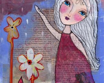 Whimsical Folk Art Girl - Mixed Media Print - She Danced - Whimsical Girl Art