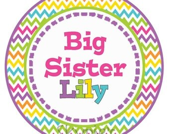 Big Sister Iron On Transfer - Siblings Iron on Transfer - Personalized Girls Rainbow Chevron - Big Sister