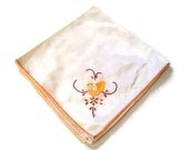 Vintage Embroidery and Applique Cotton Napkin or Dresser Scarf