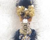 Christmas Ornament Black Gold Dress Beads Fashion Pearls Gift