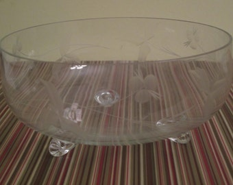 Vintage Etched Serving Bowl on Three Feet