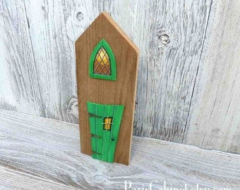 Green Wonky Door Fairy Village Cottage Miniature House Architectural Art Acrylic Painting on Wood Signed by Artist