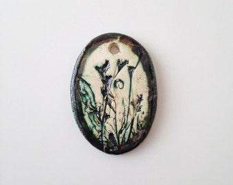 Green and Brown Earth Tones Ceramic Pendant (no 31)
