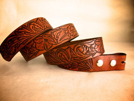 Hand tooled leather belt with sheridan floral by