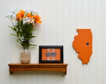 "Illinois Fighting Illini ""State Heart"" wall art, handcrafted wood with official team colors"