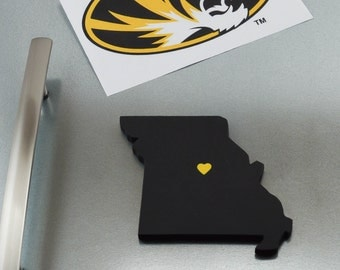 "Missouri Tigers ""State Heart"" Magnet, handcrafted wood with official team colors"