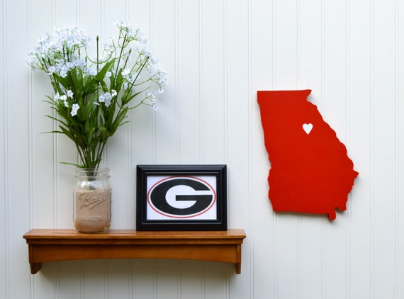 "Georgia Bulldogs ""State Heart"" wall art, handcrafted wood with official team colors"