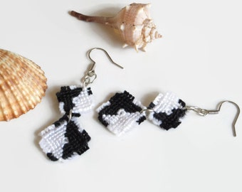 macrame dangle earrings knotted fashion jewelry in black and white, two part rhombi earrings