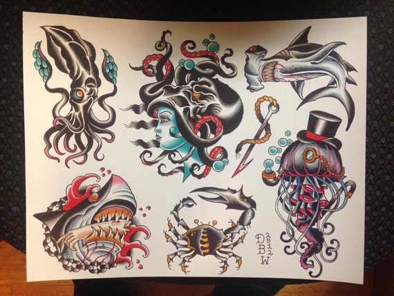 nautical traditional tattoo flash iii. Black Bedroom Furniture Sets. Home Design Ideas