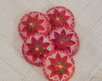 Czech Red with Green Accents Glass Vintage Buttons