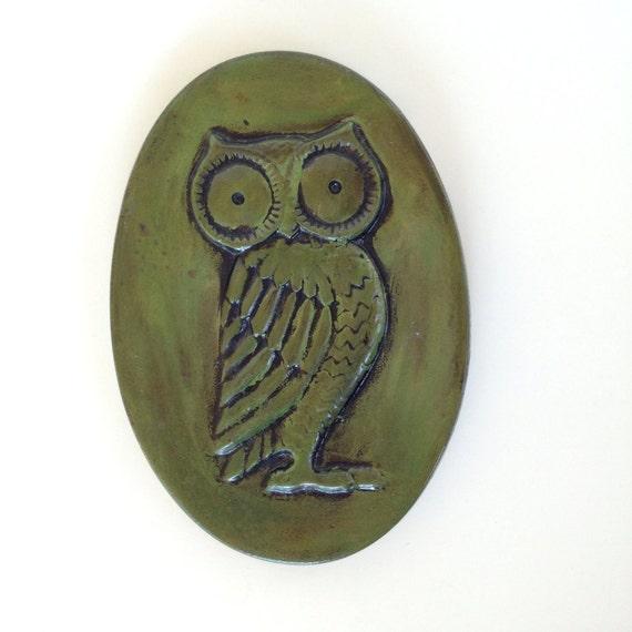 Vintage Green Owl Home Decor Plaque