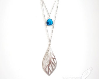 Curved Leaf, Double Layered Framed Turquoise Droplet, Double Chain Stacked, Everyday Gift for her Boho Necklace