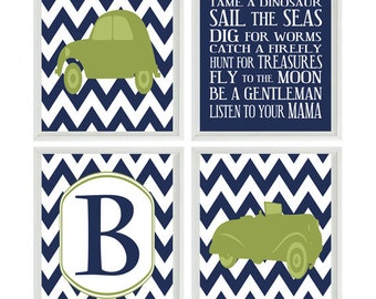 Vintage Car Art Print Set - Baby Boy Nursery Boy Room - Chevron Navy Green Personalized Initial Boy Rules Transportation Wall Art Home Decor