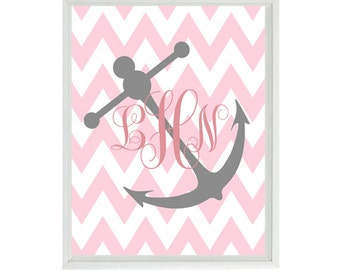 Anchor Art Print - Monogram Nautical Nursery Beach Room Name Personalized Baby Girl Pink Gray Chevron - Wall Art Home Decor  Print