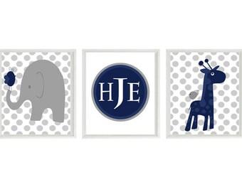Nursery Art Elephant Giraffe Birds Polka Dot Baby Boy Nursery Prints - Navy Blue Gray Monogram Personalized Wall Art - Modern Nursery Decor