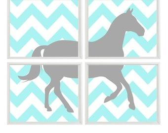 Horse Wall Art, Horse Nursery Art, Boy Room Decor, Baby Girl Nursery, Girl Room Decor, Horse Decor, Aqua, Gray, Chevron Horse, Equestrian