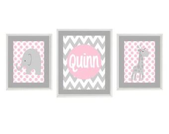 Nursery Art - Elephant Giraffe Chevron Polka Dot - Name Personalize - Baby Girl Nursery Prints Gray Pink Wall Art - Nursery Decor