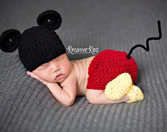 Baby Boy Hat MICKEY MOUSE Inspired Or MINNIE Newborn Baby Boy or Girl Crochet Mouse Hat, Shorts or Skirt Dress and Booties Slippers