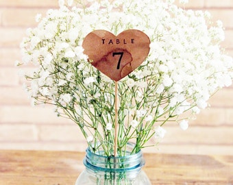 rustic wedding heart table numbers on a stick . table number wedding centerpieces . heart table numbers .  woodland wedding numbers